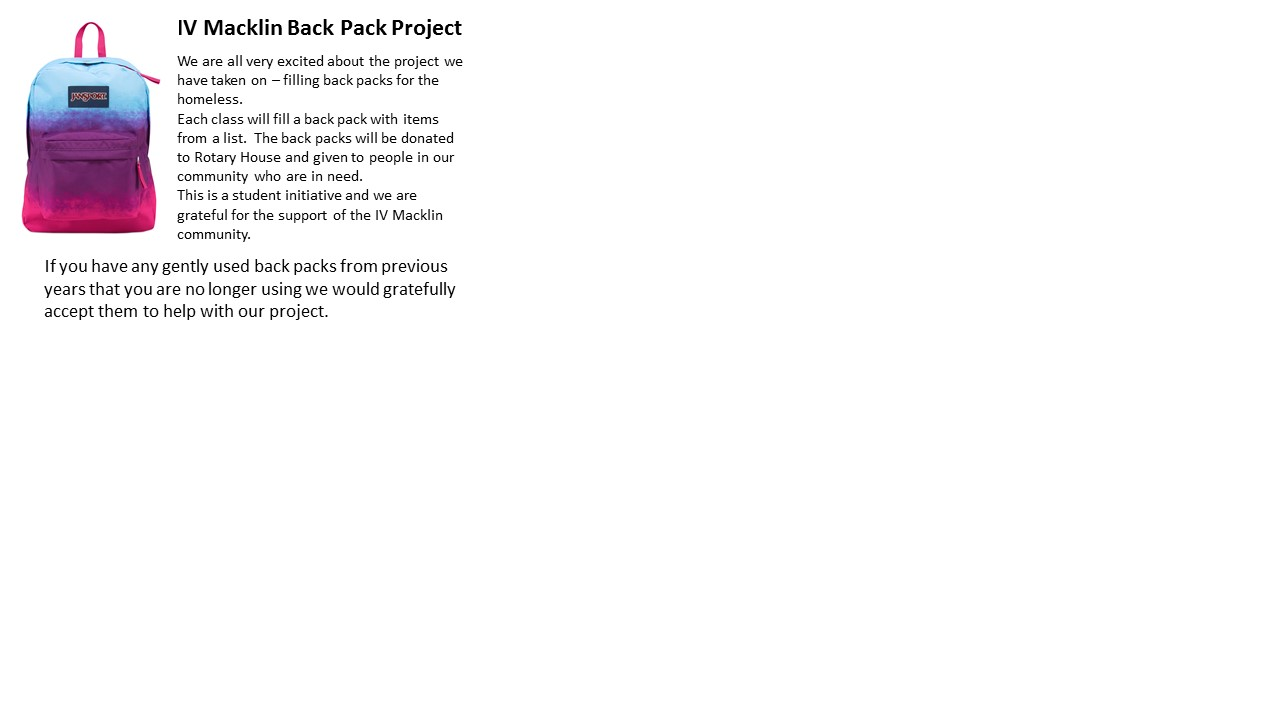 Back Pack newsletter blurb